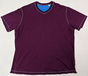 Robert-Graham-Men-039-s-Maxfield-S-S-Knit-Tshirt-3XL-XXXL-Classic-Fit-purple