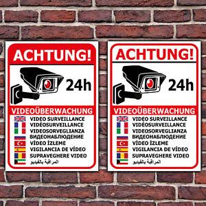Details Zu Schild Videoüberwachung Aufkleber Warnschild Hinweisschild In 9 Sprachen Hochf