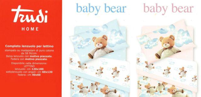 Biancheria Da Letto Trudi.Completo Lenzuola Lettino Baby Bear Orsetti Neonato Rosa Cameretta