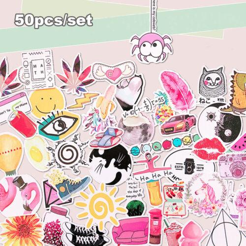 50pcs//set Self Adhesive Vinyl Scrapbook Sticker Suitcase Luggage Decor DIY Craft