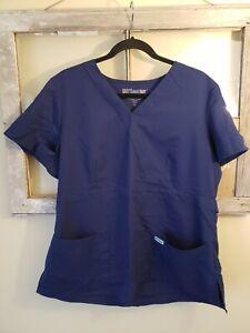 Grey-039-s-Anatomy-Women-039-s-XL-Blue-Short-Sleeve-Scrub-Top-V-Neck