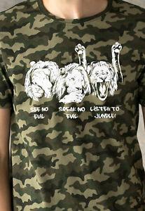 Junglist Lions Camo T Shirt Neurofunk Jungle Drum and Bass Camouflage Mens Women