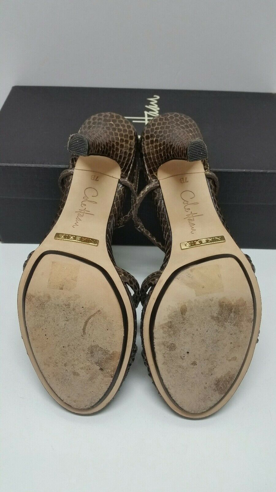 COLE HAAN SARI AIR MAHOGANY SNAKE LEATHER LEATHER LEATHER SIZE 7 HEELS SANDAL in BOX  DR 011c3e