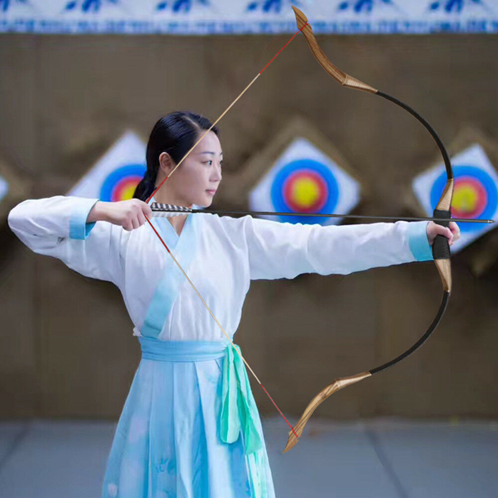 Outdoor 50lb Archery 53  Recurve Bow Traditional Longbow Hunting Shooting Target
