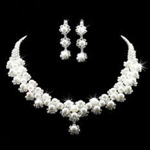 Image Is Loading Wedding Bridal Party Jewellery Crystal Rhinestone Pearl Necklace