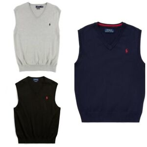 aea48cee Details about Polo Ralph Lauren Pima Cotton V Neck Sweater Vest Mens - FREE  SHIPPING