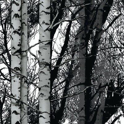 D C FIX BLACK WHITE TREES FORREST STICKY BACK PLASTIC SELF ADHESIVE VINYL FILM