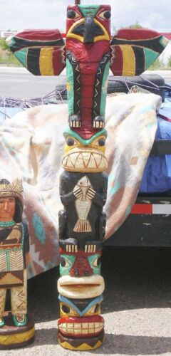 Native American 6/' Hand Carved TOTEM POLE 6 ft Peyote Bird Totems F Gallagher