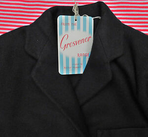 """Girls vintage black blazer UNUSED school uniform Chest 28"""" 33"""" Grosvenor 1950s"""
