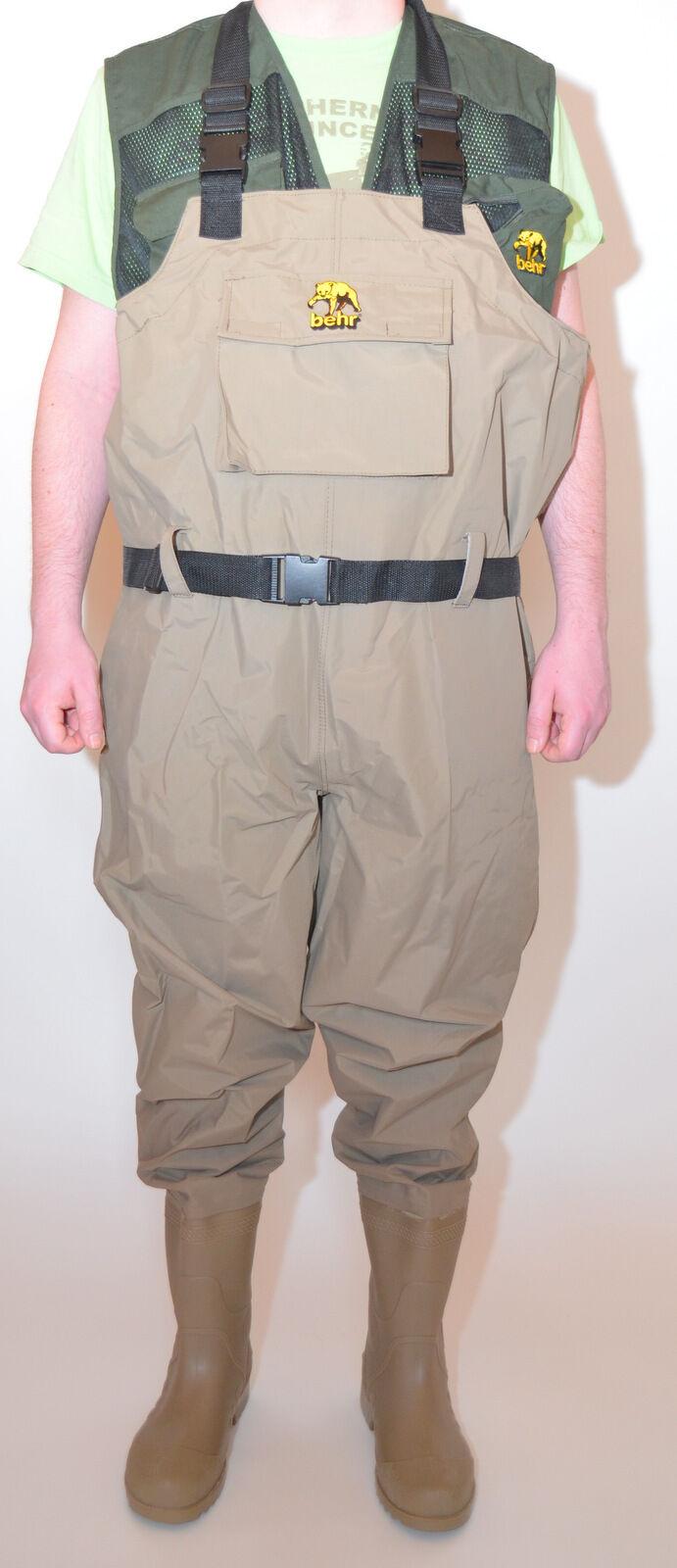 Behr Trendex EverDry Nylon PVC Wathose mit Stiefeln und Gummisohle Gummisohle Gummisohle in Gr. 39-48 cccf0d