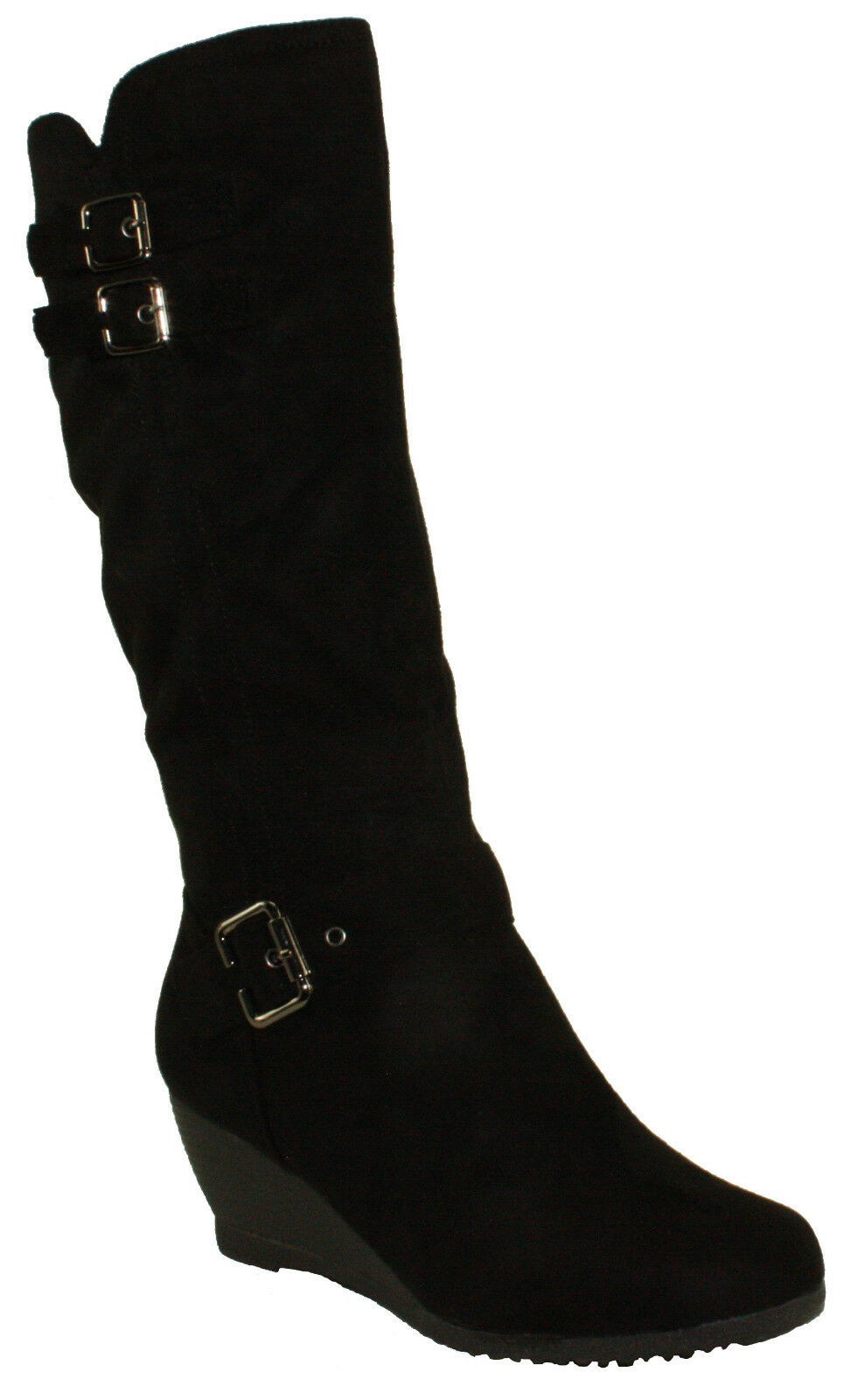 DbDk Women's Monicay-2 Faux Suede Round Toe Wedge Heel Mid-Calf Boots