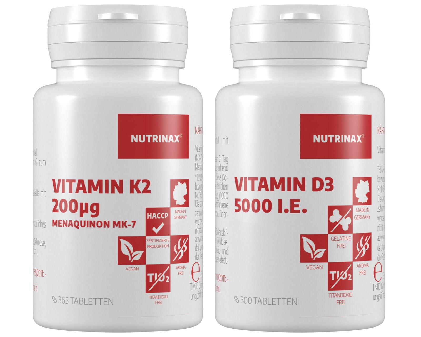 Nutrinax Vitamin K2 730 vegane Tabletten + Vitamin D3 5000 i.E. 600 Tabletten