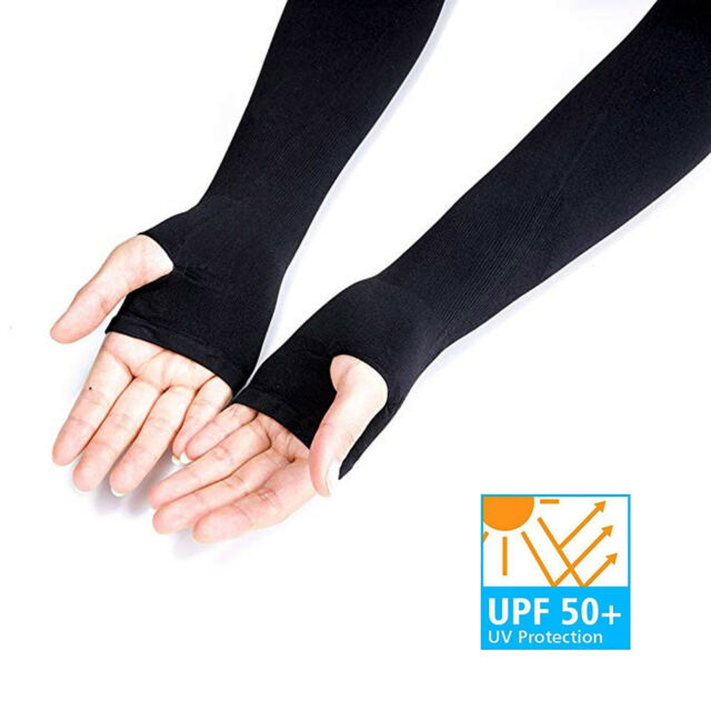 UV Sun Protection Cooling Sport Arm Sleeves Gloves Golf Bike Cycling Cover
