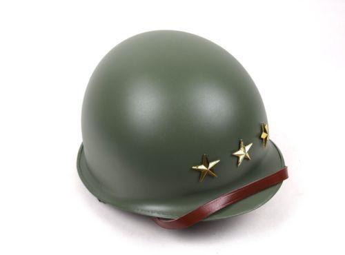 WW2 WWII US ARMY M1 LIEUTENANT GENERAL RANK STEEL HELMET WITH CAMOUFLAGE NET