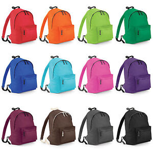 Plain-2-Pocket-Backpack-Rucksack-School-Bag-Choose-Your-Colour-NEW