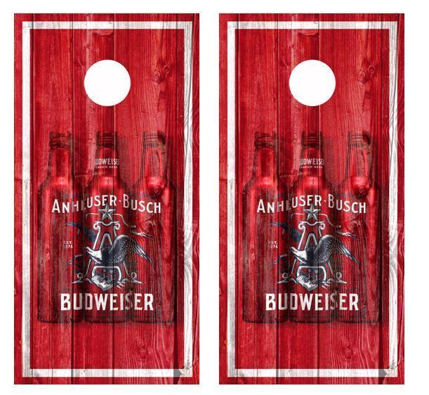 Anhueser Busch Budweiser Barnwood Cornhole Board  Wraps FREE LAMINATION  the newest