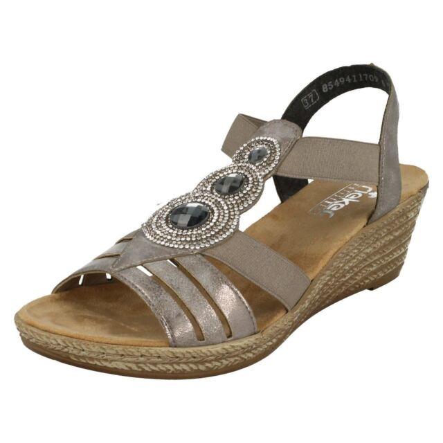 91548ef6e62c Ladies Rieker Wedge Sandals The Style - 64259 US 41 Grey Standard