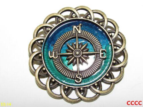Steampunk broche insignia con Pin Bronce Brújula Azul Verde Pirata Náutica Black Sails