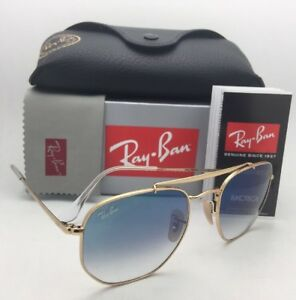 4f56a42eaf New RAY-BAN Sunglasses RB 3648 001 3F 54-21 Gold Aviator with Blue ...