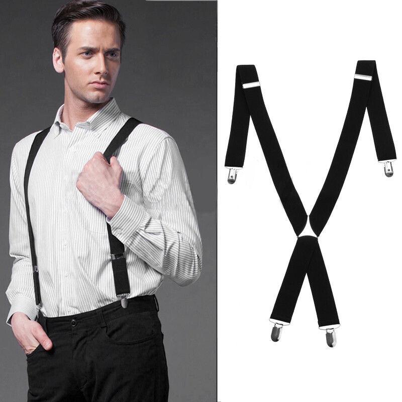 35mm Men Wide Braces Plain Heavy Duty Suspender Elastic X Shape Trouser Black UK