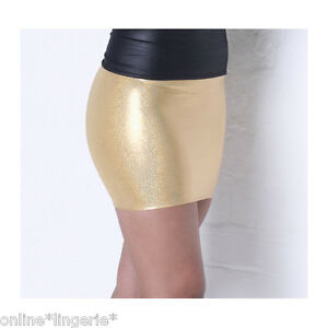 44776a42f29156 Mini Skirt METALLIC GOLD Shiny Holo Lycra Party Club Wet Look Dancer ...