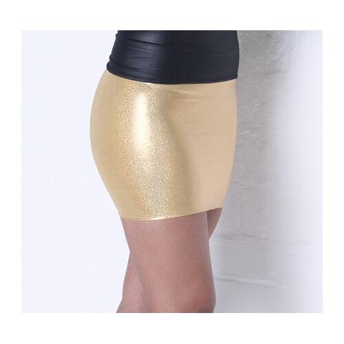 Mini Skirt METALLIC GOLD Shiny Holo Lycra Party Club Wet Look Dancer Womens S37