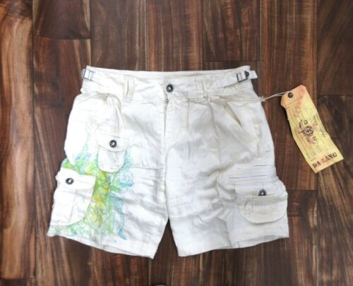 NEW Da Nang Silk Blend Bermuda Shorts WHITE Size MEDIUM SCG17721567