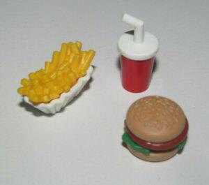 Playmobil-Lot-Fast-Food-Burger-Boisson-Barquette-Frite-Nourriture-Foods-NEW
