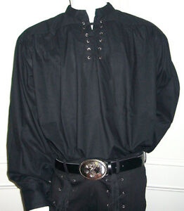 NEW-Goth-Pirate-Medieval-Fancy-Dress-Cotton-Shirt-BLACK-M