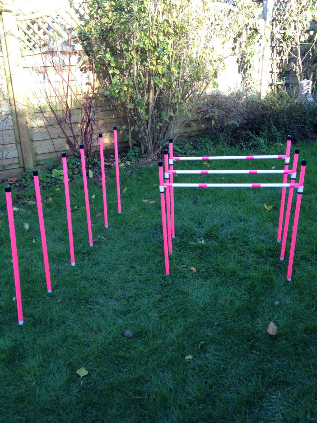 Dog Agility Basic Sliding 3x Jump & 6 Pole Weave Set by Jessejump Agility
