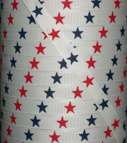 "100 yards 3//8/"" Patriotic 4th of July Red /& Navy Star Print Grosgrain 4 Hairbow"