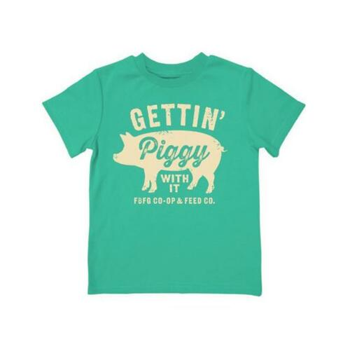 "F53004218 Toddler Farm Boy /""Gettin piggy with it/"" T-Shirt Green"