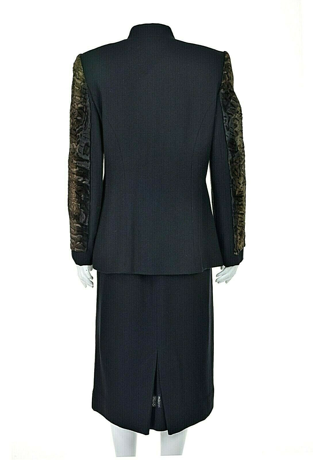 TRAVILLA Vintage Wool Crepe Skirt Suit with Persi… - image 5