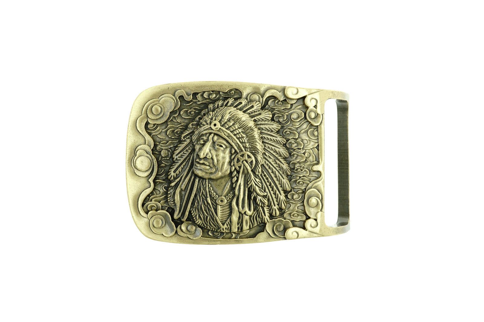 Western Native Indian Chief Cowboy Rectangle Solid Brass Metal Belt Buckle