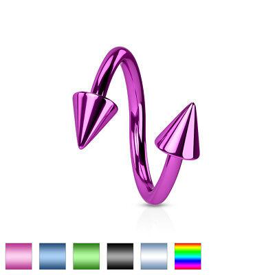 "4Pc 14g 3//8/"" Rainbow Titanium IP 316L Surgical Steel 4mm Spikes Eyebrow Rings"