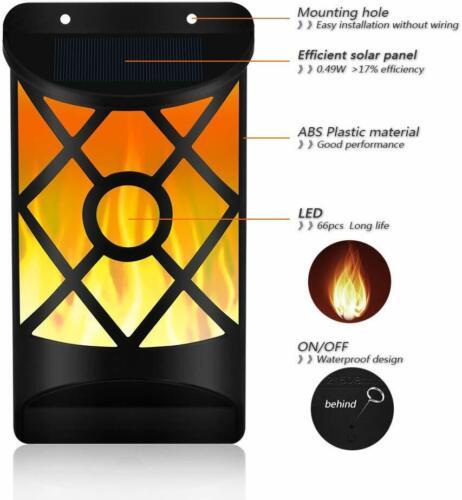 New Solar Flickering Dancing Flame Wall Light LED Lantern Waterproof Garden Lamp