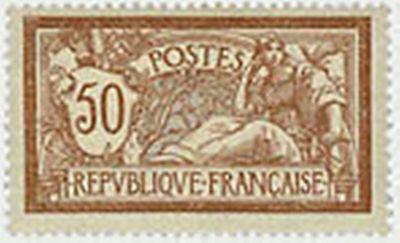 """Zielsetzung Frankreich Stamp Briefmarke Nr 50 Braun C Und Grau """" X Tb 120 """" Art Merson"""