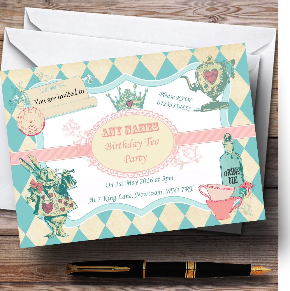 Alice Alice Alice in wonderl chorale Mad Hatters thé Personnalisé Anniversaire enfants invitations 6dd776