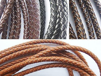 8mm Brown Bolo Braided Leather Cord Necklace 1 yard to 55 yard 0.91 m to 50 m