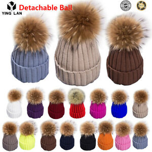 2018 Winter Hat Real Rabbit Fur Pom Pom Bobble Women Knit Beanie ... 43bbc41f363