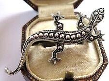 "VINTAGE SIGNED ""GLOBUS"" MARCASITE EFFECT STAYBRITE Jewellery LIZARD PIN BROOCH"