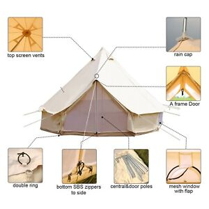 Brilliant Details About 3M Luxury Water Poof Canvas Tent Bell Outdoor Camping Beige Glamping Tipi Tents Download Free Architecture Designs Itiscsunscenecom