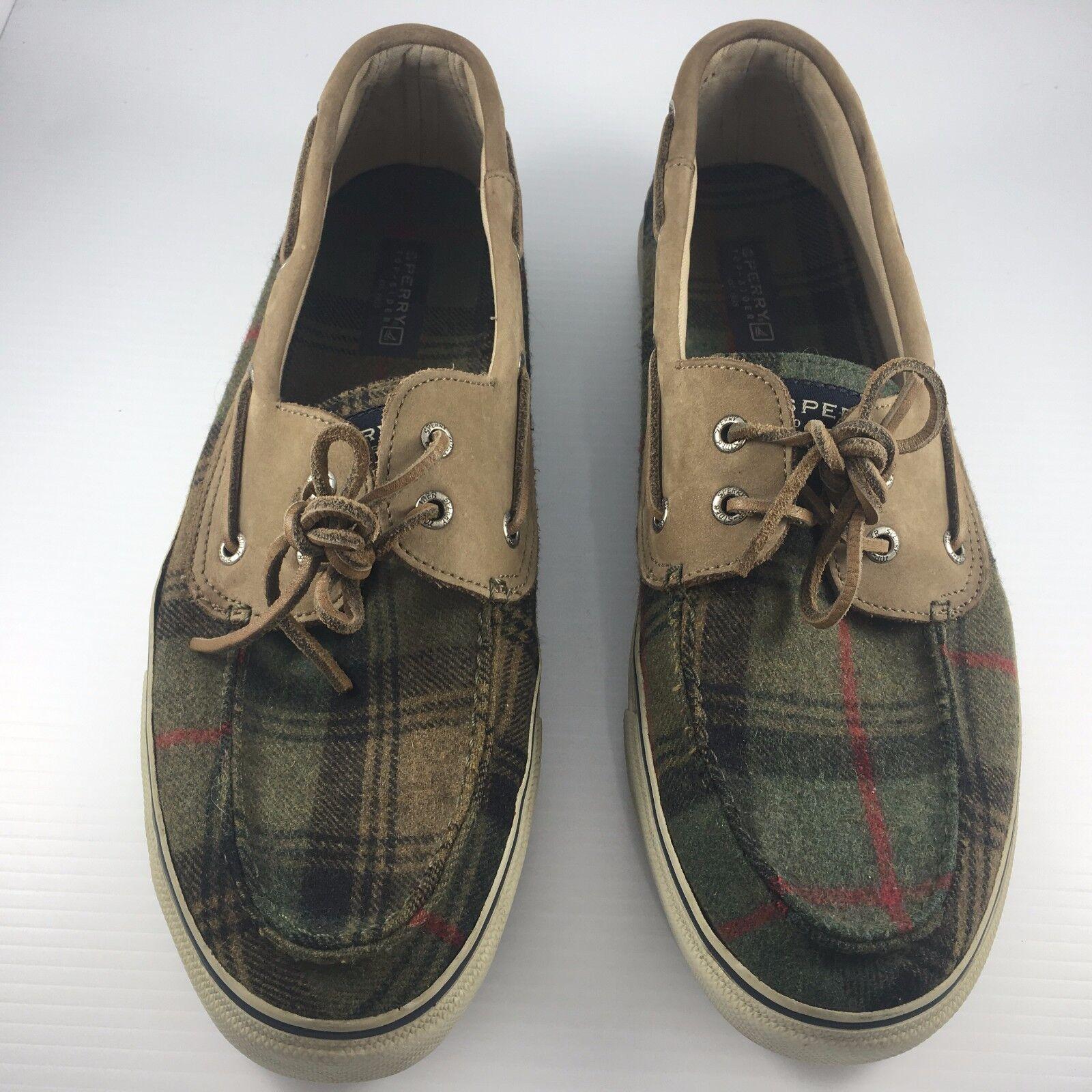 Sperry Top Sider Men US 13 Bahama Wool Plaid Green Plaid Wool 2 Eye Casual Boat Shoes e1f4f8