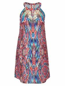 Plus-Size-Crossroads-Ethnic-Colourful-Print-Midi-Dress-Size-20-Free-Post