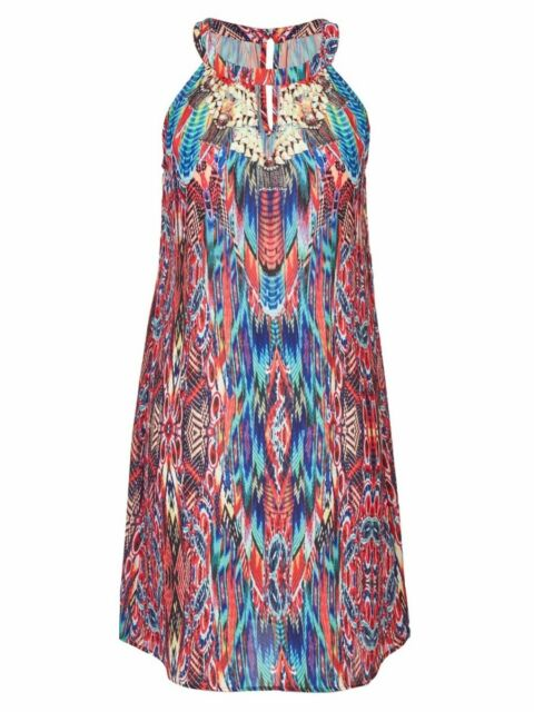 Plus Size Crossroads Ethnic Colourful Print  Midi Dress Size 22 Free Post