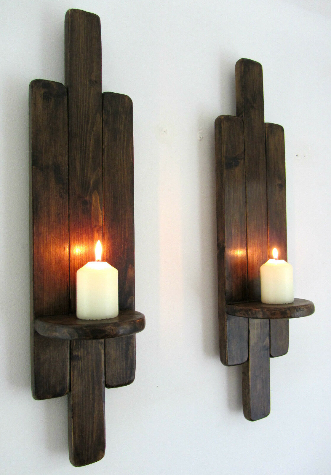 PAIR OF 60CM TALL RUSTIC WOOD  WALL SCONCE LED CANDLE HOLDERS ART DECO STYLE