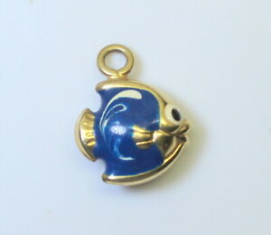 14K-Gold-Summer-Beach-3D-Enameled-Coral-Fish-Charm-Pendant-Not-Scrap-9g