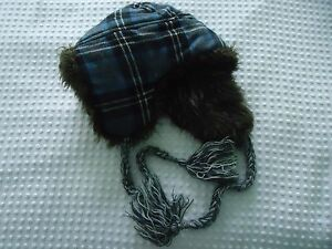 6ddb9a9a4cc11 Adult One Size Faux Fur Lined Blue Plaid Winter Hat with Flaps ...