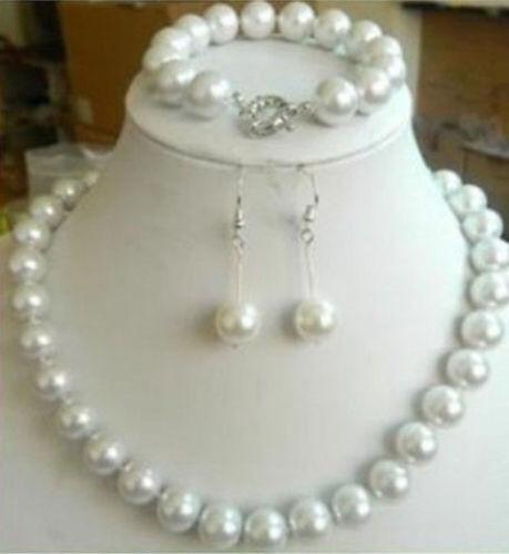BELLE 10 mm Blanc Mer Du Sud Coquille Perle Ronde Perles Collier Bracelet Boucle d/'oreille