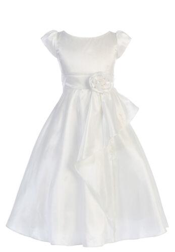 New White Taffeta Flower Girls Dress First Communion Wedding Party Easter 416